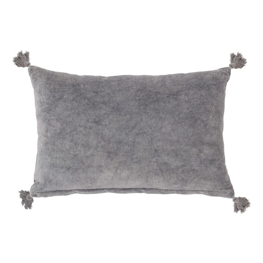Grey Velvet Pillow with Tassels