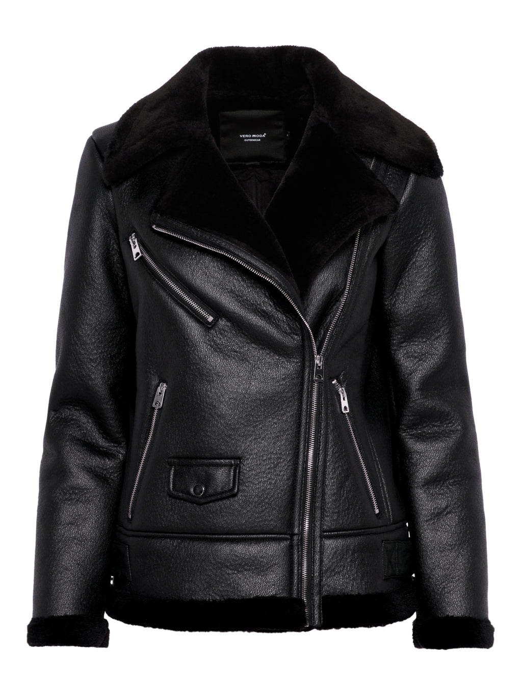 Black Faux Shearling Aviator Jacket - Coveted Style