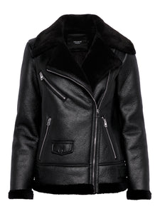 Black Faux Shearling Aviator Jacket - Cultur'd Collective