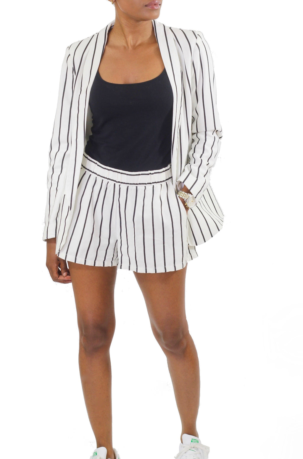 Linen-Blend Striped Blazer - Coveted Style