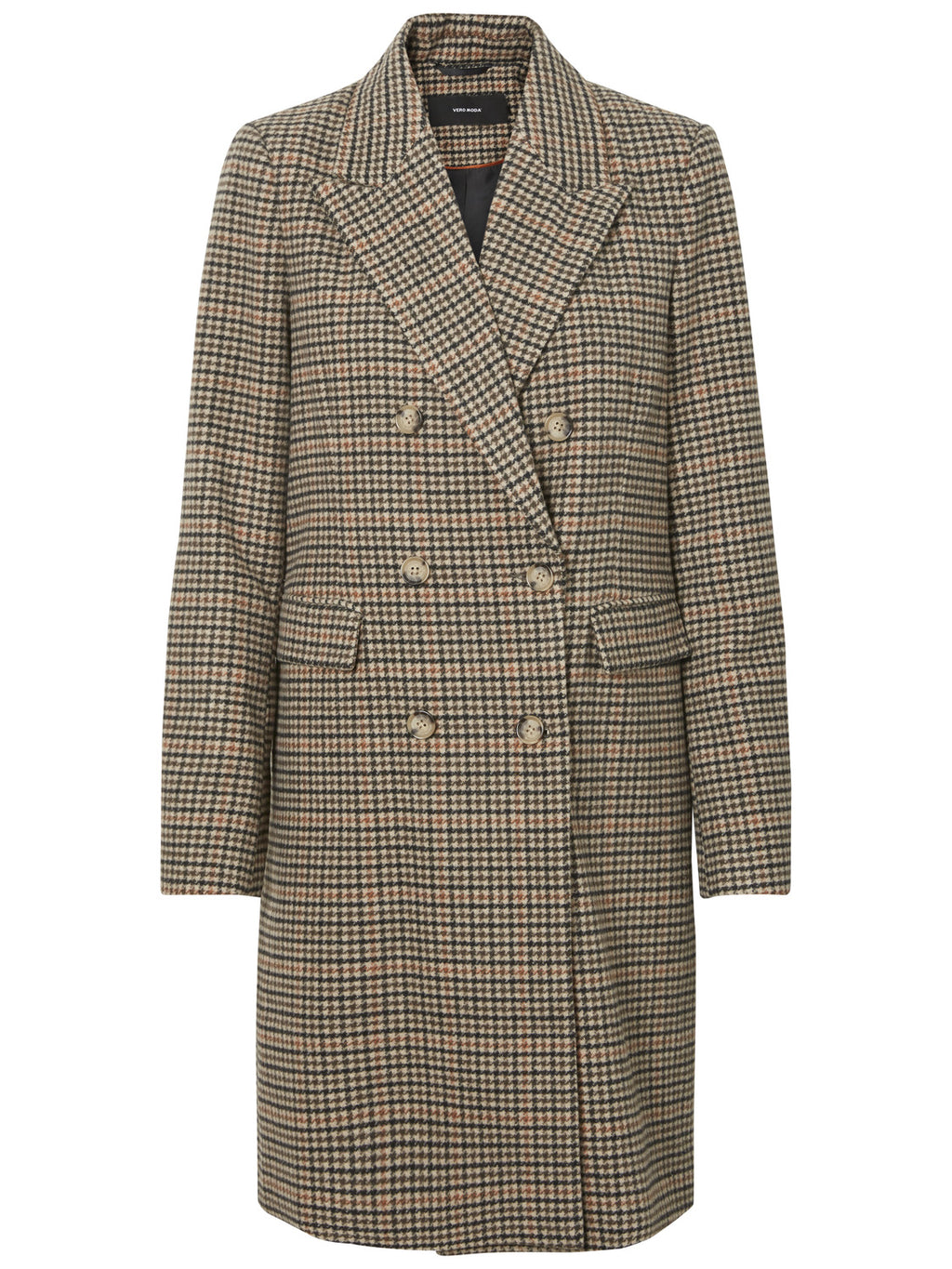 Double Breasted Checked Houndstooth Long Wool Coat - Cultur'd Collective