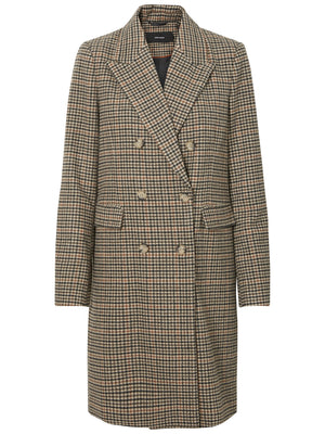Double Breasted Checked Houndstooth Long Wool Coat - Coveted Style
