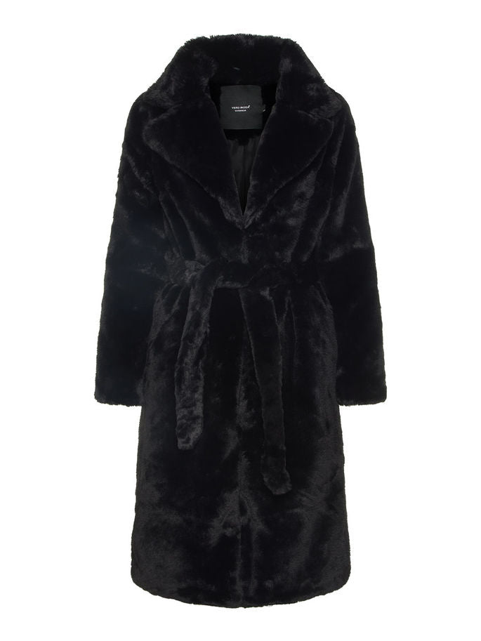 Vero Moda Long Black Faux Fur Coat with Wrap Belt. Shop now on Coveted Style.