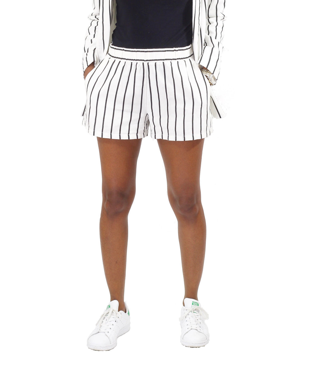 Linen-Blend White Stripe Shorts - Coveted Style