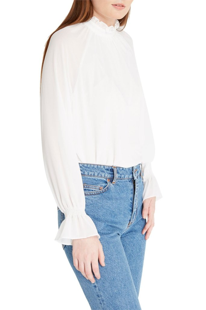 hop White Long Sleeve Chiffon High Neck Blouse in White at Cultur'd Collective.