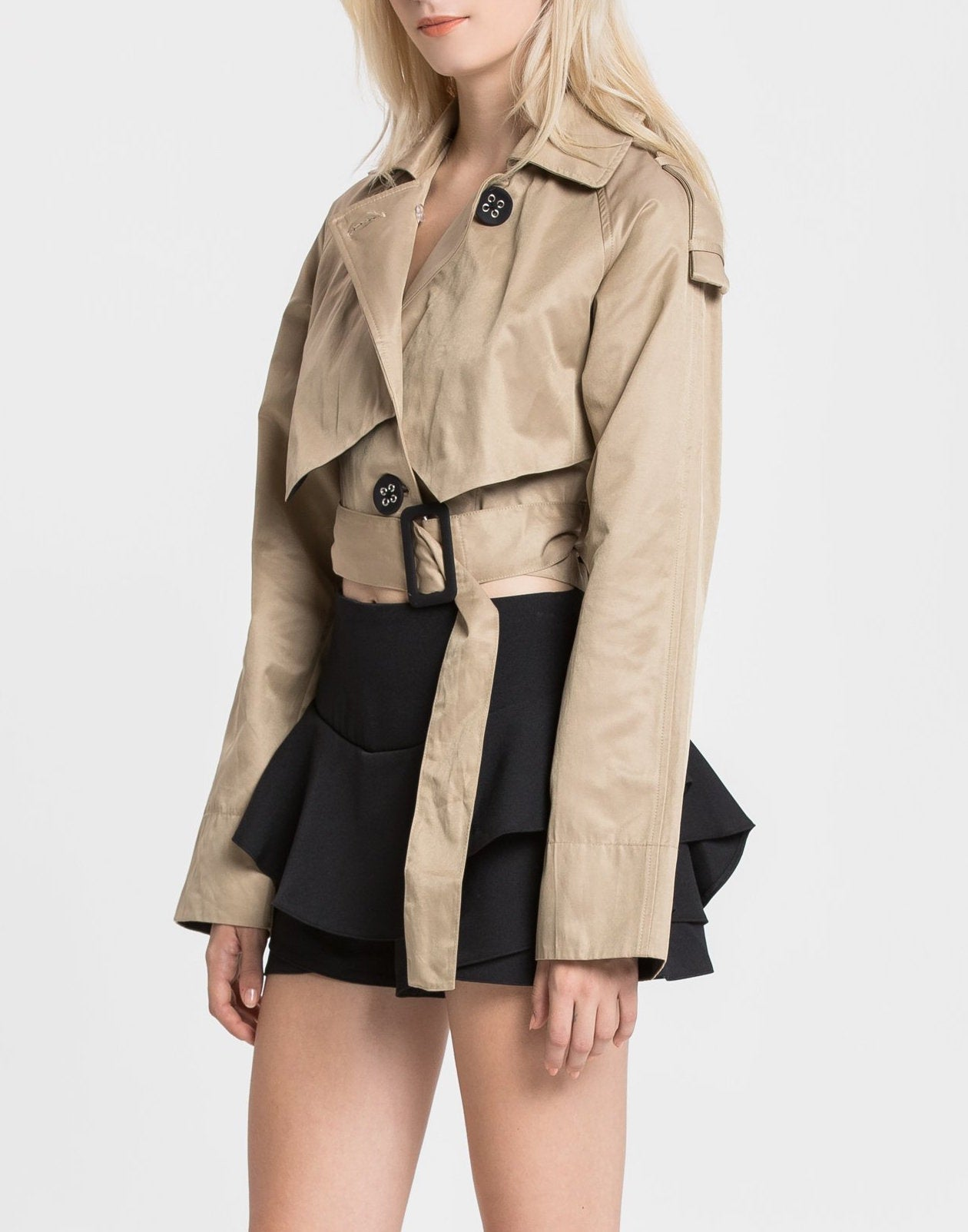 Cropped Trench Coat - Coveted Style