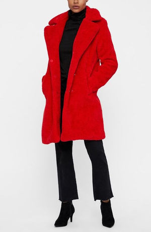 Red Faux Fur Teddy Coat - Coveted Style