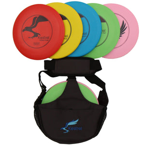 Kestrel Disc Golf Set Bundle | 5 Discs + Shoulder Bag | Includes 2 Fairway Drivers, 2 Mid-Range Discs and Putter | Ages 6+  (5-Pack)