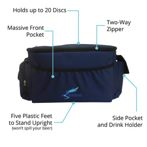 Kestrel Outdoors Blue Kestrel Disc Golf Bag | Made from Heavy Duty Canvas | Fits up to 18 Discs & Other Equipment