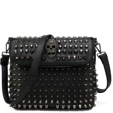 Large Studded Skull Shoulder Bag H1417