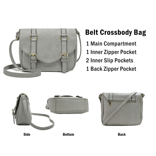 Decorative Front Belt Crossbody Bag H1725