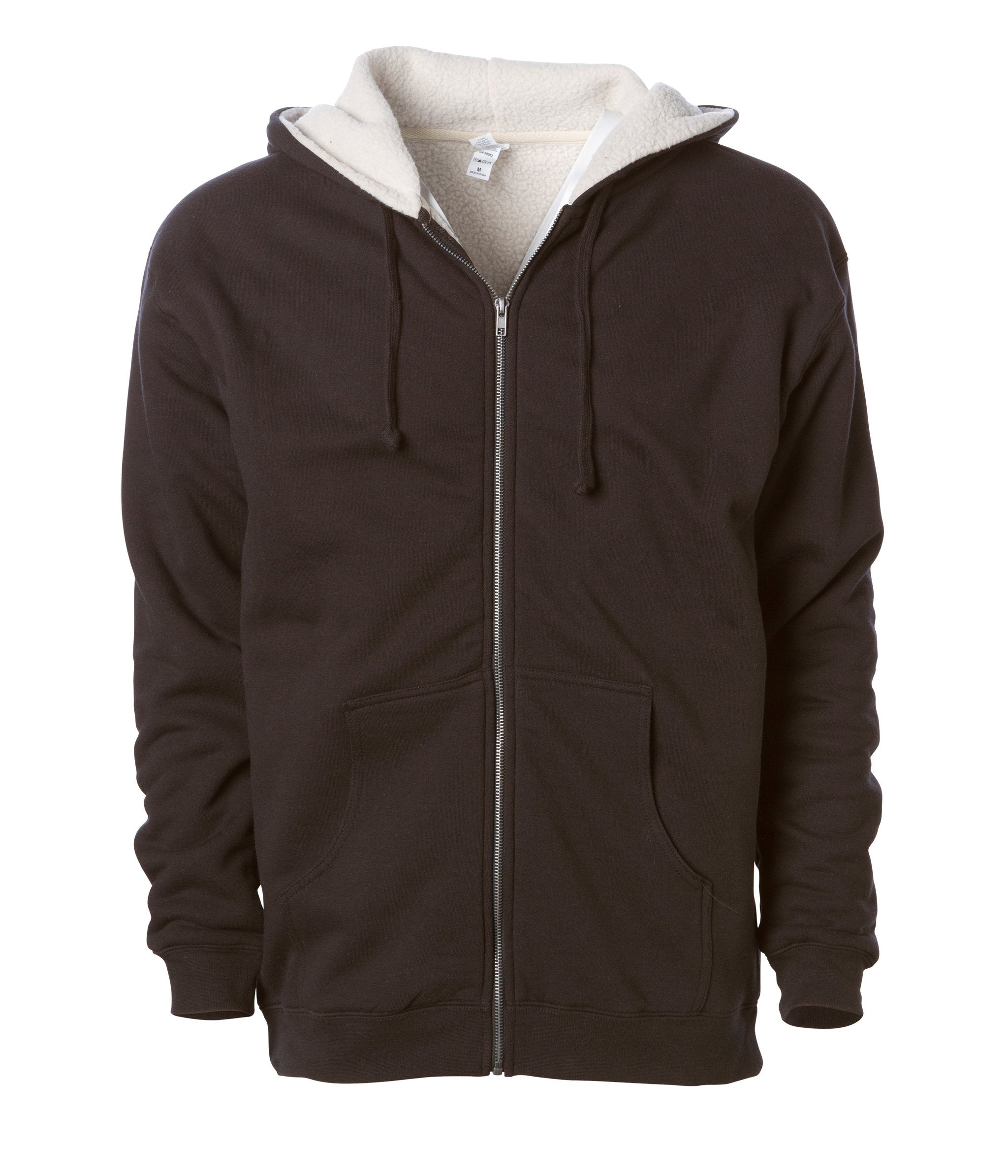 Sherpa Lined Zip Hooded Sweatshirt in Cocoa/Natural