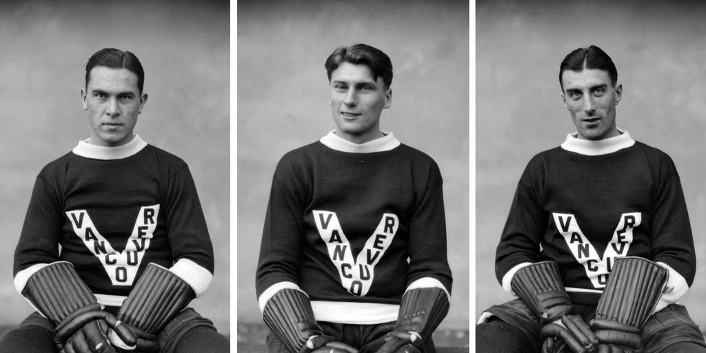 Three photos of Vancouver Millionaires hockey players