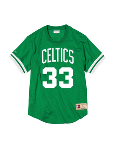 Boston Celtics Larry Bird Name & Number Mesh Crewneck