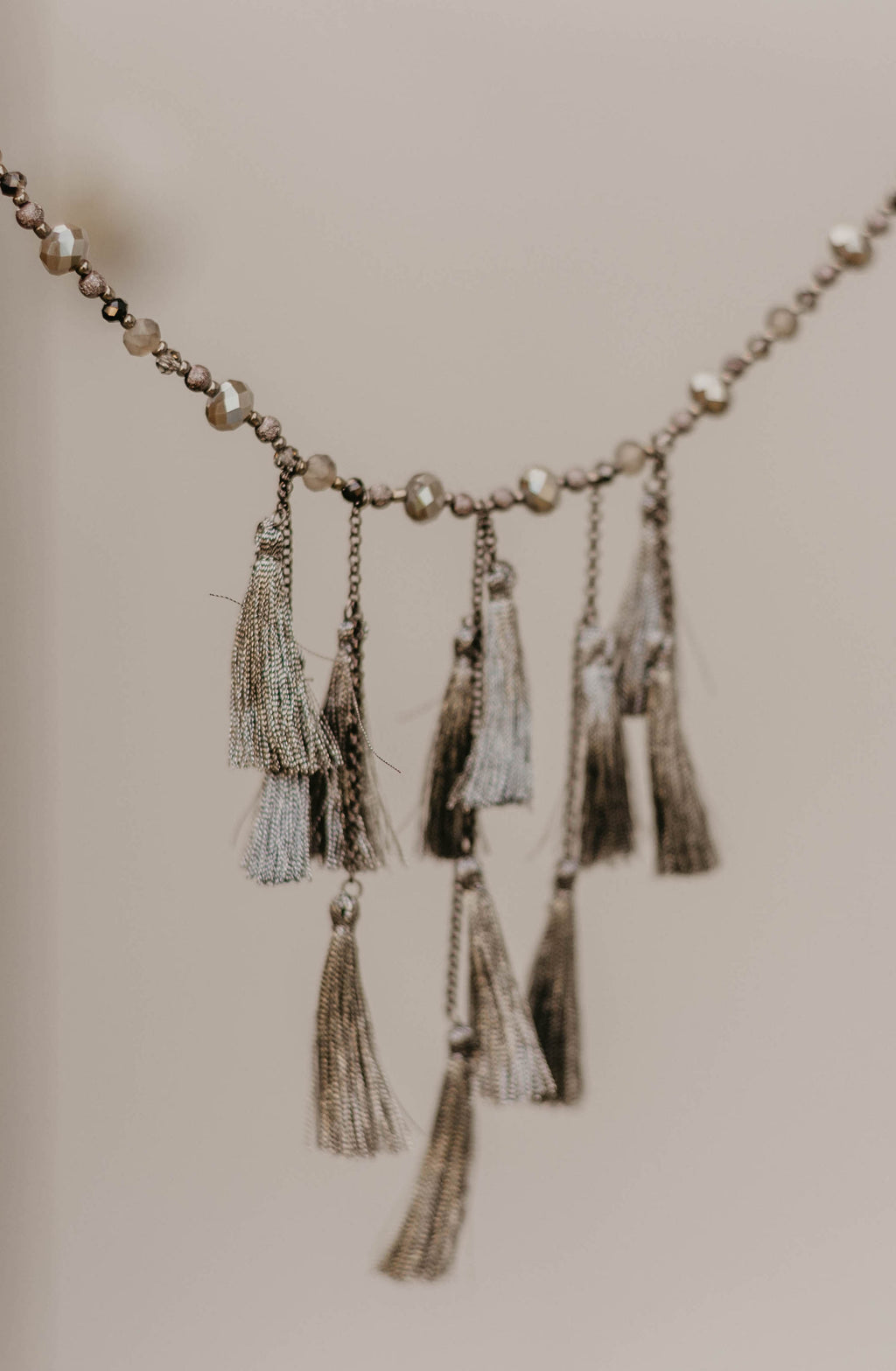 Long Tassel Beaded Necklace, Hematite
