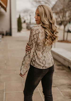 Rumple Snakeskin Top