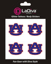 Auburn Tigers AU Glitter Tattoo 4-pack