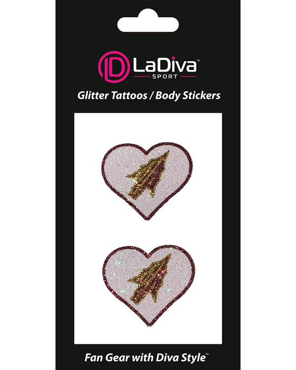 Florida State University Heart Glitter Tattoo 2-Pack