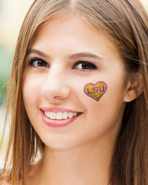 Louisiana State Tigers Heart LSU Glitter Tattoo 2-pack