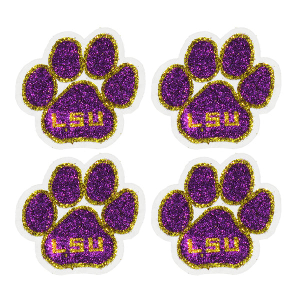Louisiana State Tigers Paw Print Glitter Tattoo 4-pack - LaDivaSport