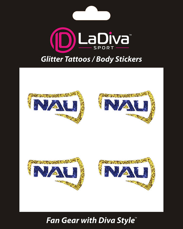 Northern Arizona Lumberjacks NAU Axe Glitter Tattoo 4-pack