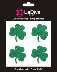 Notre Dame Fighting Irish Green Shamrock Glitter Tattoo 4-pack