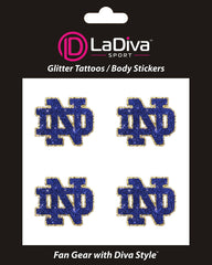 Notre Dame Fighting Irish Blue ND Glitter Tattoo 4-pack