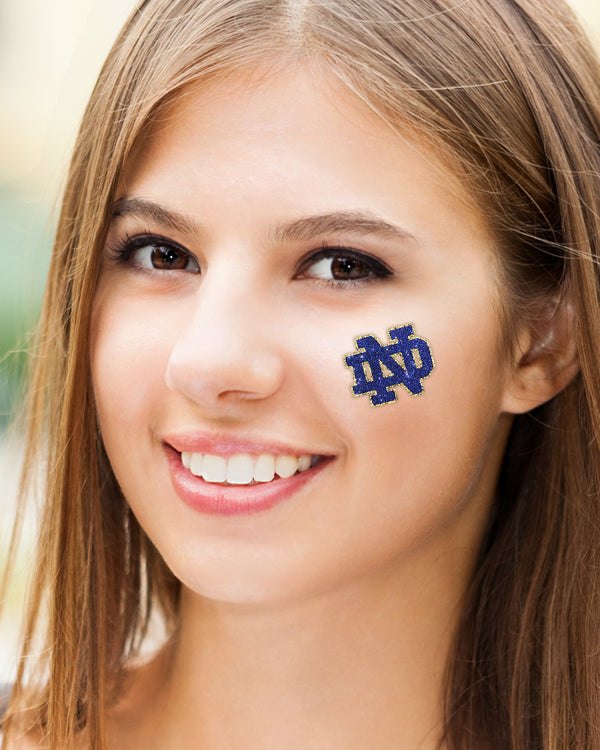 Notre Dame Fighting Irish Blue ND Glitter Tattoo 2-pack