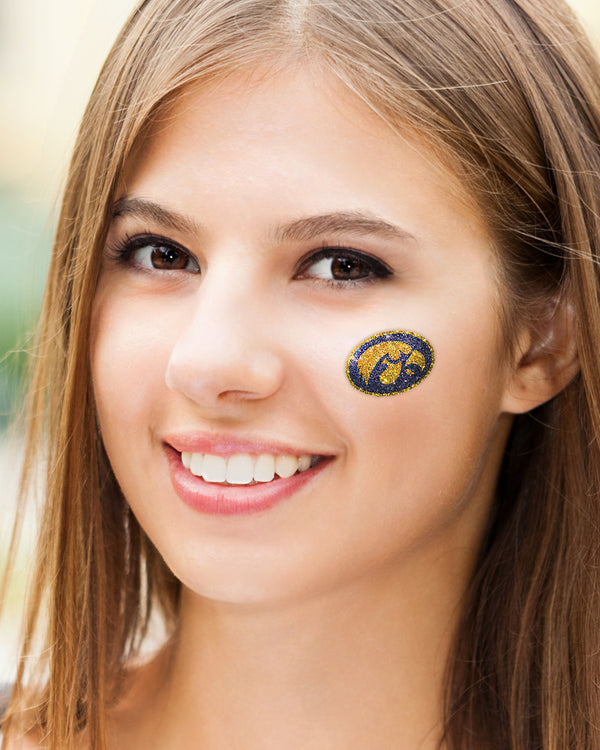 Iowa Hawkeyes Gold Hawk Glitter Tattoo 2-pack