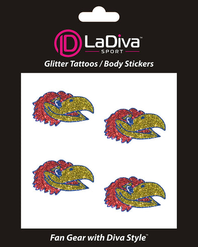 Kansas Jayhawks Glitter Tattoo 4-pack