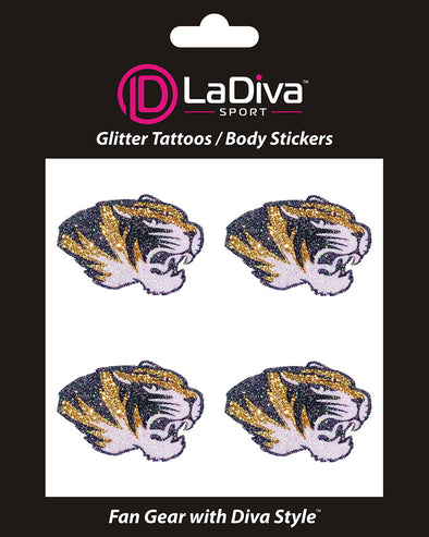 Missouri Tigers Glitter Tattoo 4-pack