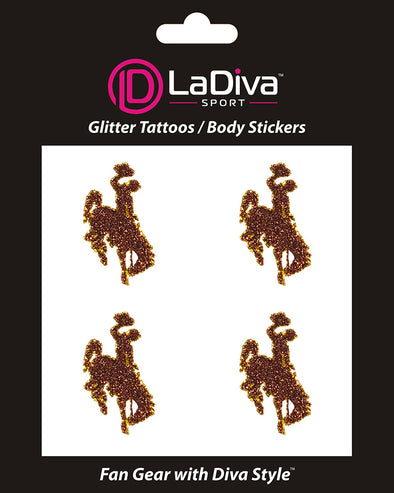 Wyoming Cowboys Glitter Tattoo 4-pack