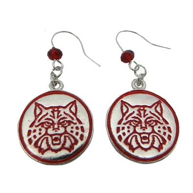 Red Wildcat Drop Earrings - Licensed Wildcat Jewelry