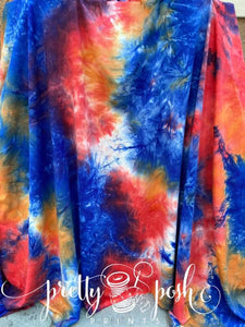 Red White and Blue Tie Dye (with hints of orange), Silky Soft