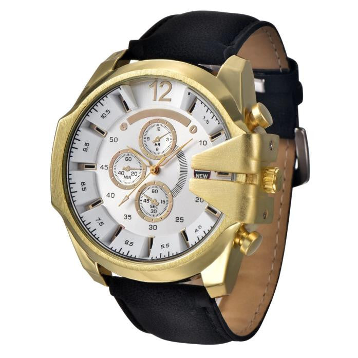 Hot Men's Analog Steel Case Quartz Dial Synthetic Leather Wrist Sport Watch Gift