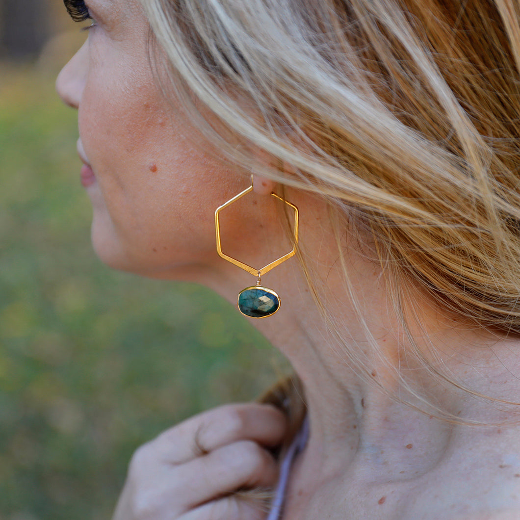 Emerald and Hexagon Earrings
