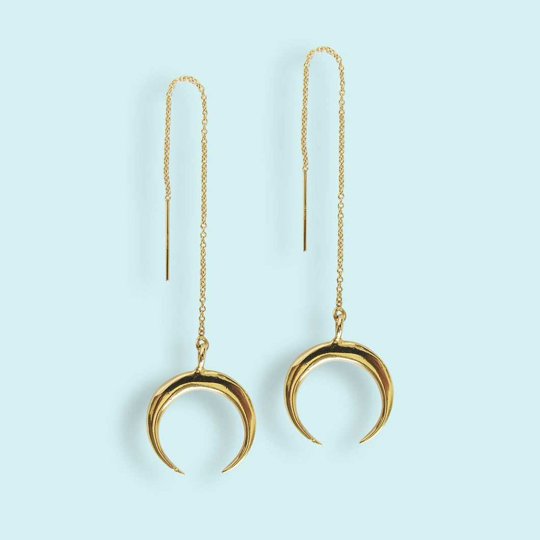 Crescent Moon Threader Earrings