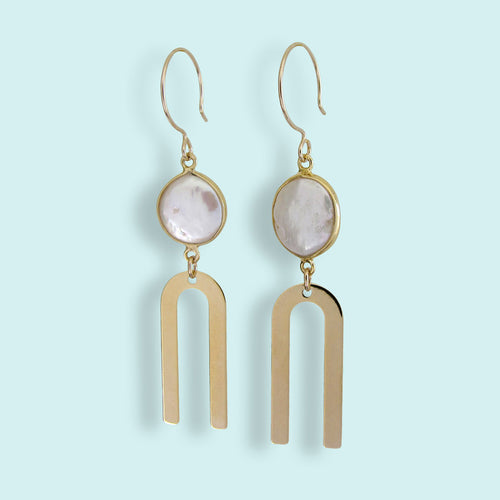 Pearl and Arc Earrings