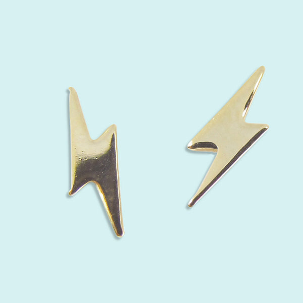 Gold Lightning Stud Earrings
