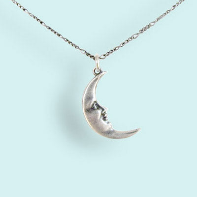 Silver Man in the Moon Necklace