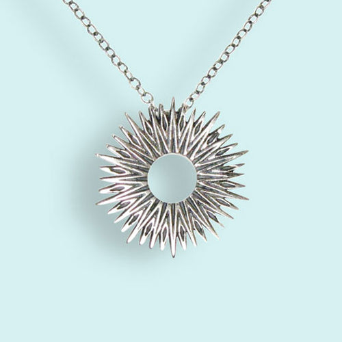 Sterling Silver Small Radiant Sun Necklace
