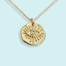 Load image into Gallery viewer, Evil Eye Hammered Medallion Necklace