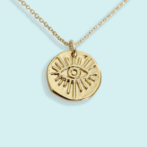 Evil Eye Hammered Medallion Necklace