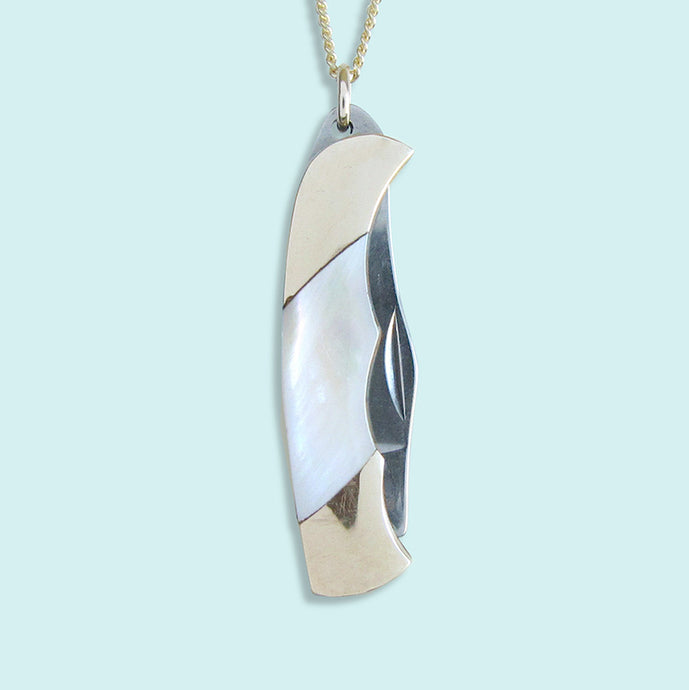 Shell Handled Knife on Gold Chain Necklace