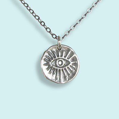 Sterling Silver Evil Eye Medallion Necklace
