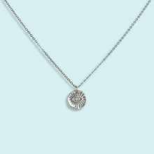 Load image into Gallery viewer, Sterling Silver Evil Eye Hammered Medallion Necklace