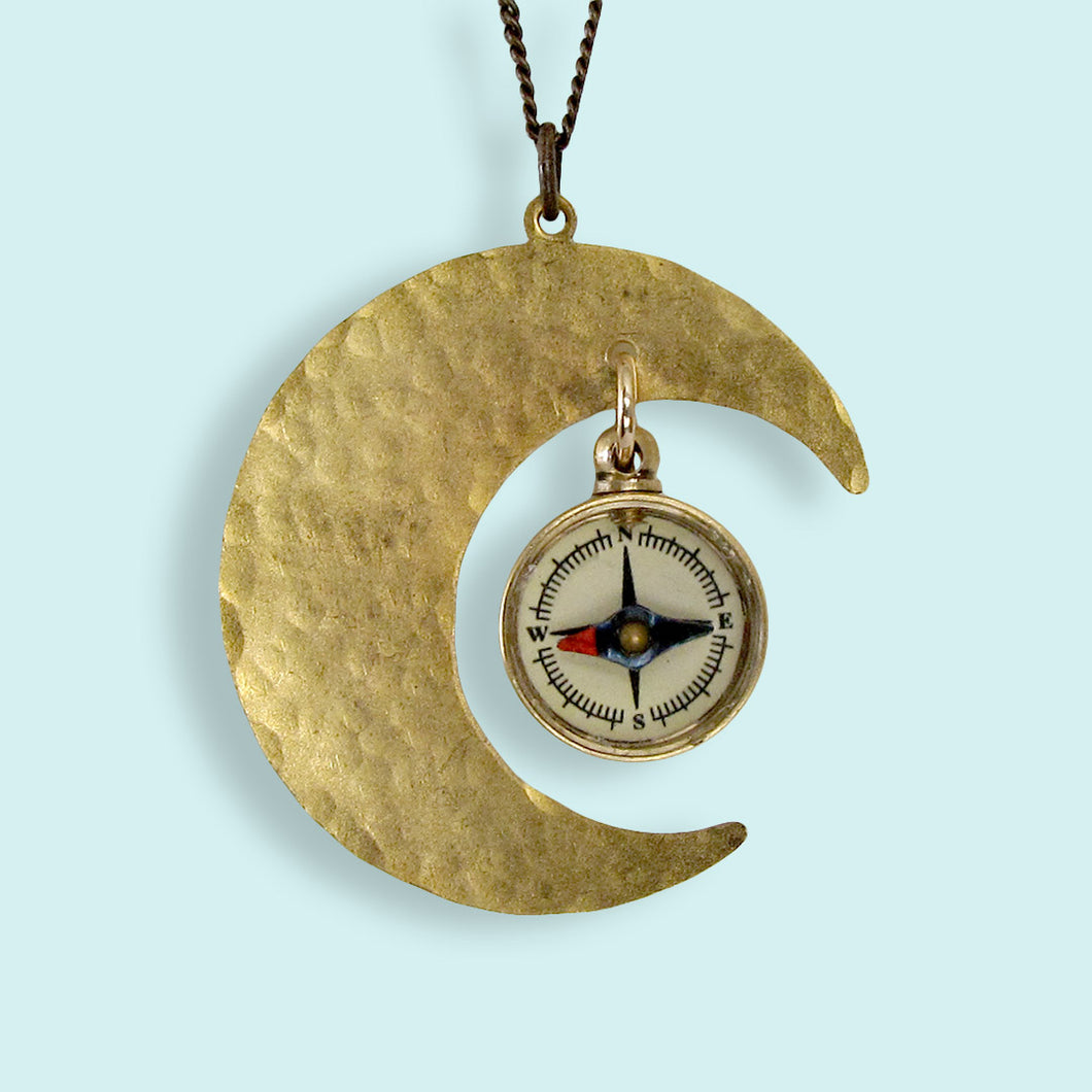 Compass Moon Necklace