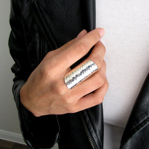 Silver Cigar Band Ring