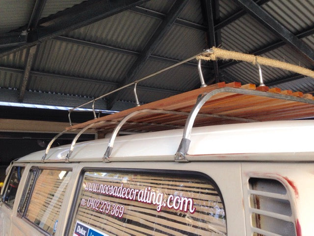Roof Rack - 4 bow stainless steel and timber.