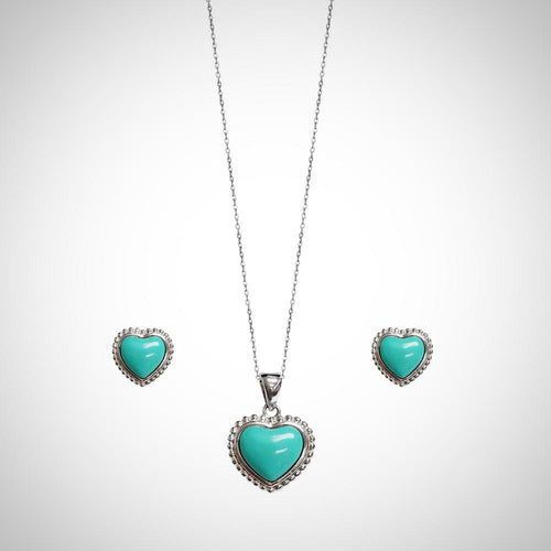 TEAL HEART- STERLING SILVER SET2109